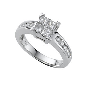 18ct white gold one carat princess cut diamond ring - Product number 5172063