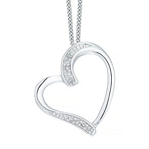 9ct White Gold 0.05ct Diamond Heart Pendant - Product number 5179904