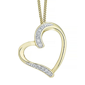 9ct Yellow Gold 0.05ct Diamond Heart Pendant - Product number 5179939