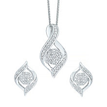 9ct White Gold 0.15ct Diamond Jewellery Set - Product number 5179947