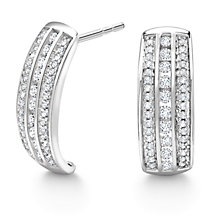 9ct White Gold 0.50ct Diamond Hoop Earrings - Product number 5179963