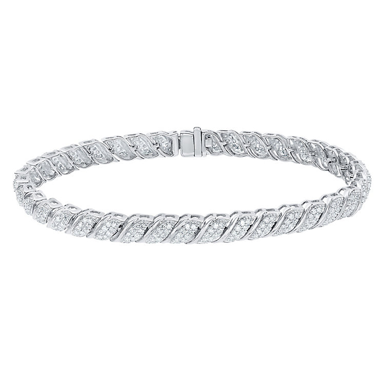 9ct White Gold 2ct Diamond Bracelet - Product number 5180228