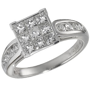 18ct White Gold One Carat Princessa Diamond Ring