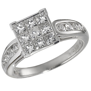 18ct White Gold One Carat Princess Cut Diamond Ring - Product number 5182026