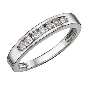 9ct White Gold 1/4 Carat Diamond Seven Stone Eternity Ring
