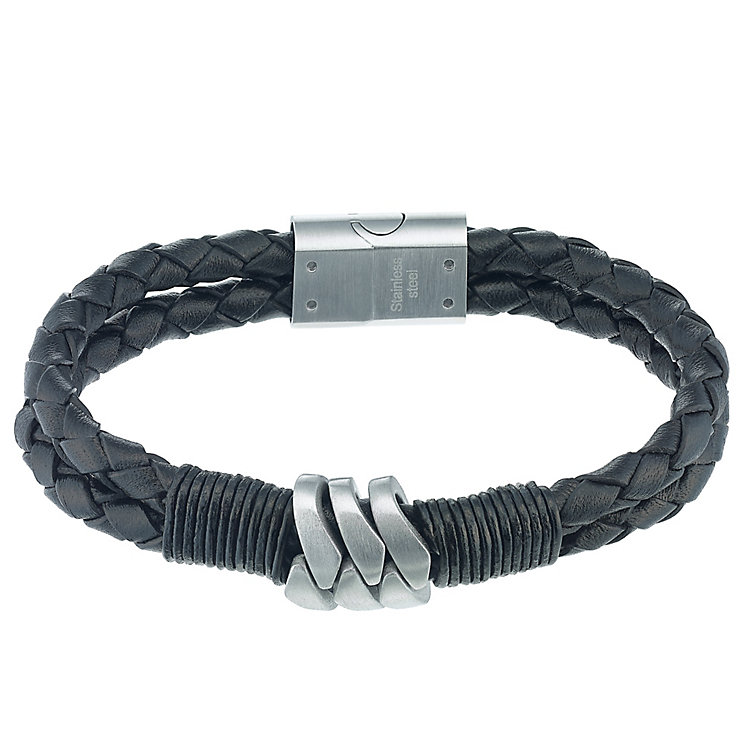 Stainless Steel & Black Leather Woven Bracelet - Product number 5187885