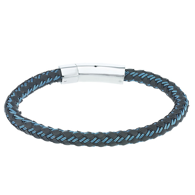 Stainless Steel & Blue Rubber Woven Bracelet - Product number 5187907