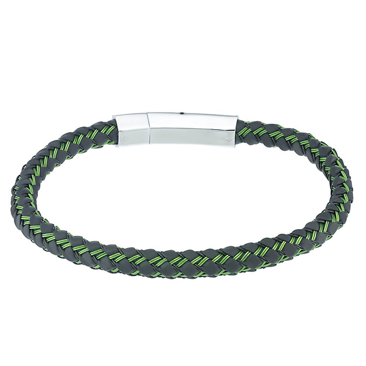 Stainless Steel & Green Rubber Woven Bracelet - Product number 5187915