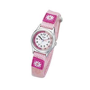 Lorus Children's Pink Flower Tome Teach Canvas Strap Watch - Product number 5191823