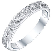 9ct White Gold 0.07ct Ladies' Diamond Set Band Ring - Product number 5194679