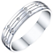 9ct  White Gold 0.04 Diamond Set Gents Band Ring - Product number 5194946