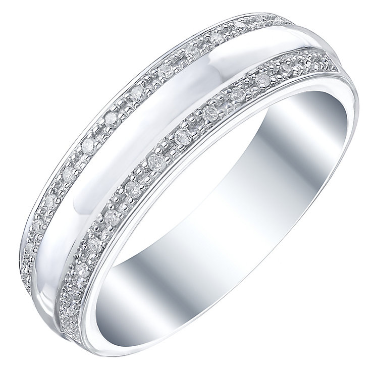 9ct White Gold 0.08ct Gent's Diamond Set Band Ring - Product number 5195101