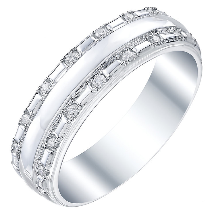 9ct White Gold 0.11 Diamonds Set Gent's Band Ring - Product number 5195276
