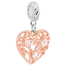 Chamilia Rose Gold Electroplated Filigree Plume Heart Charm - Product number 5197422