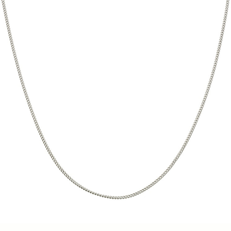 "9ct White Gold 20"" Solid Curb Necklace - Product number 5199328"