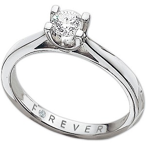 Platinum 0.38 Carat Forever Diamonds Ring