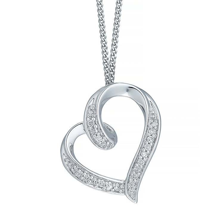 9ct White Gold Diamond Heart Pendant - Product number 5207363