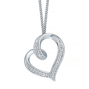 9ct White Gold 0.05ct Diamond Heart Pendant - Product number 5207363