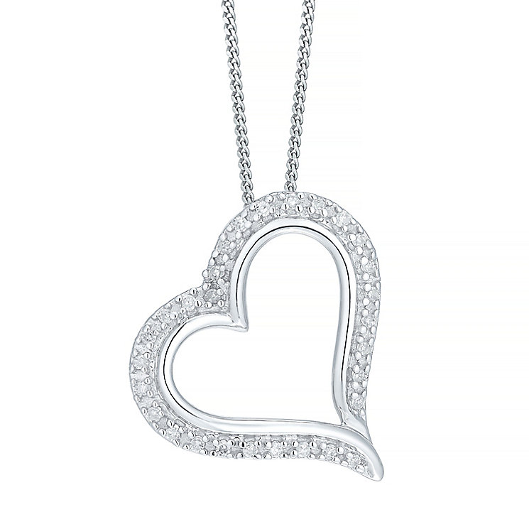 9ct White Gold Diamond Heart Pendant - Product number 5207525
