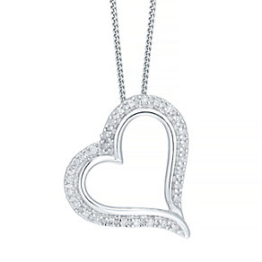 9ct White Gold 0.04ct Diamond Heart Pendant - Product number 5207525