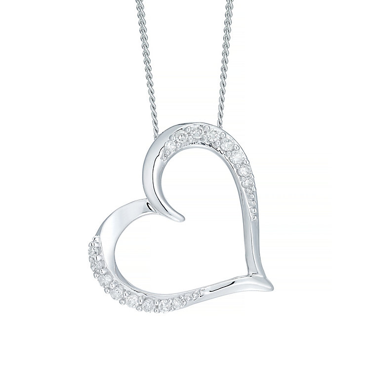 9ct White Gold Diamond Heart Pendant - Product number 5207622