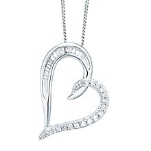 9ct White Gold 0.15ct Diamond Heart Pendant - Product number 5207738