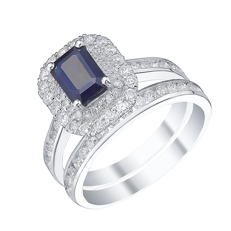 18ct White Gold Sapphire 1ct Diamond Bridal Set - Product number 5209153