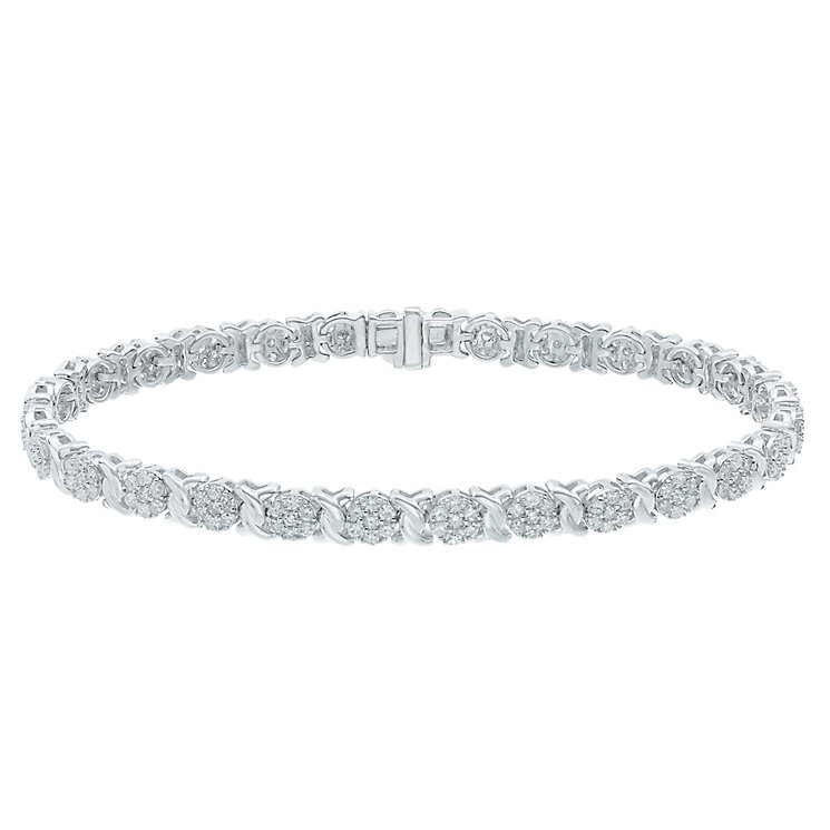9ct White Gold 2ct Diamond Bracelet - Product number 5209498