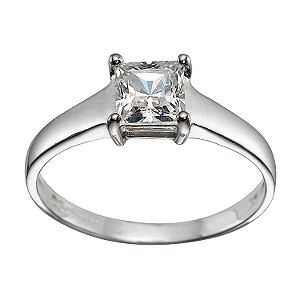 9ct White Gold Princess-cut Cubic Zirconia Ring