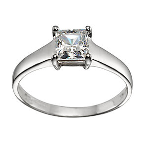 9ct White Gold Princess-cut Cubic Zirconia Ring - Product number 5209838