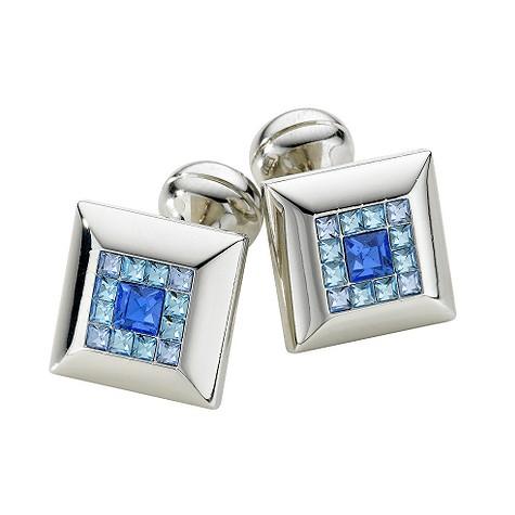 Square Mile dark blue Swarovski crystal cufflinks