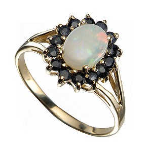 9ct Yellow Gold Opal And Sapphire Ring