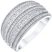 9ct White Gold 0.50ct 5 Row Diamond Band - Product number 5211573