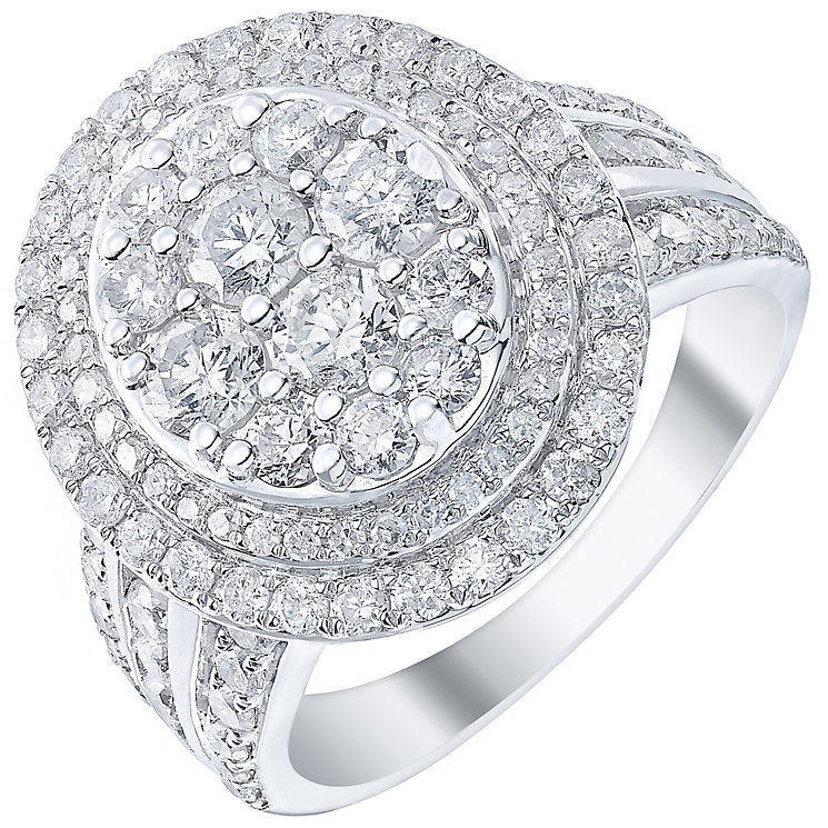 18ct White Gold 2ct Diamond Oval Halo Ring - Product number 5211980