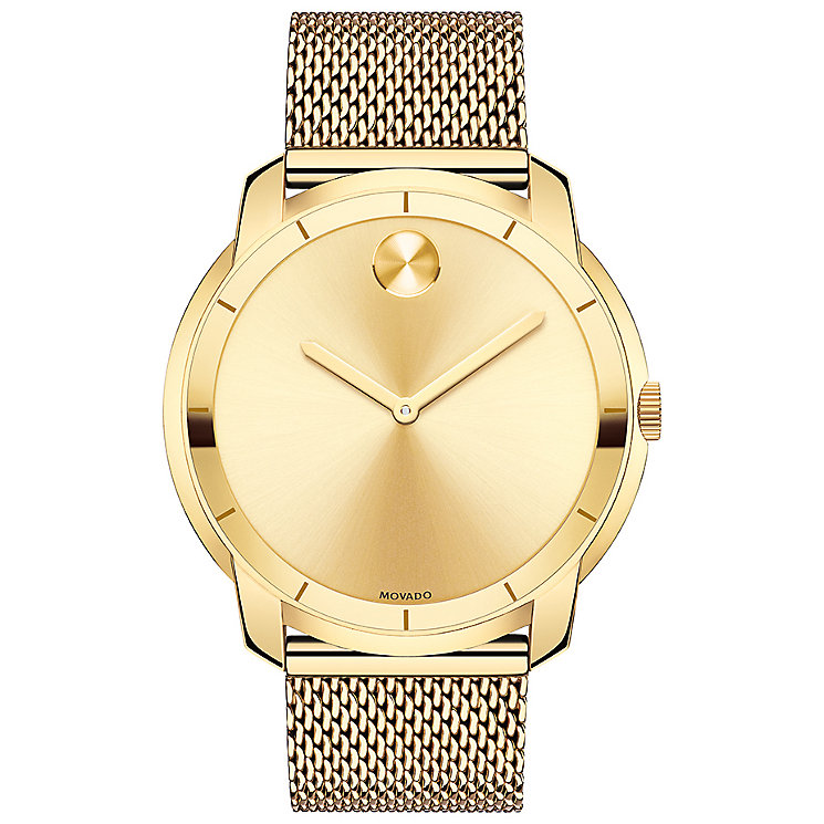 Movado Bold Men's Gold Plated Bracelet Watch - Product number 5212367