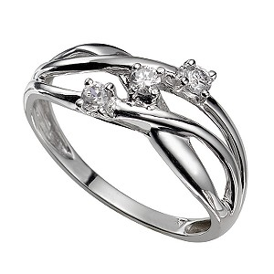 9ct White Gold Three-stone Cubic Zirconia Weave Ring
