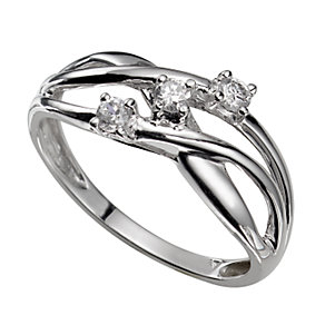 9ct White Gold Three-stone Cubic Zirconia Weave Ring - Product number 5212626