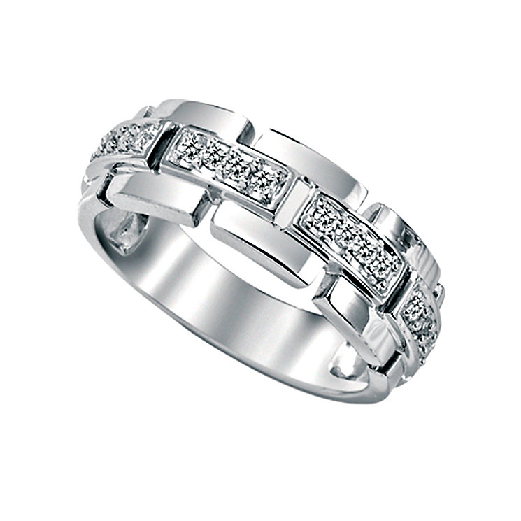 Men's 9ct white gold fifth carat diamond ring - Product number 5213967