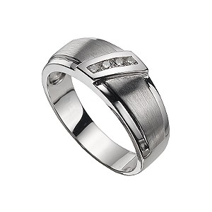 Men's 9ct white gold diamond ring - Product number 5214556