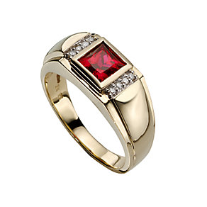 Men's 9ct gold created ruby and diamond ring - Product number 5214610