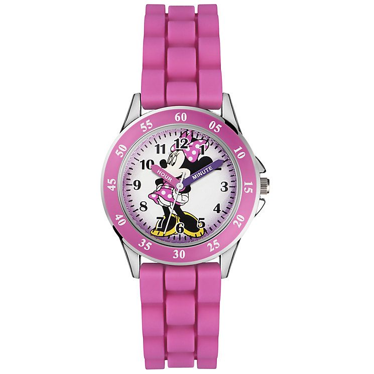 Children's Minnie Time Teacher Pink Silicone Strap Watch - Product number 5214823