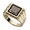 Men's 9ct Gold Sapphire and Diamond Signet Ring - Product number 5217369