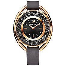 Swarovski Crystalline ladies' oval Black leather strap watch - Product number 5217857