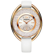 Swarovski Crystalline ladies' oval White leather strap watch - Product number 5217865