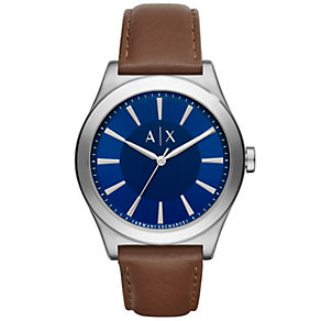 Armani Exchange Men's Blue Dial Brown Leather Strap Watch - Product number 5218519