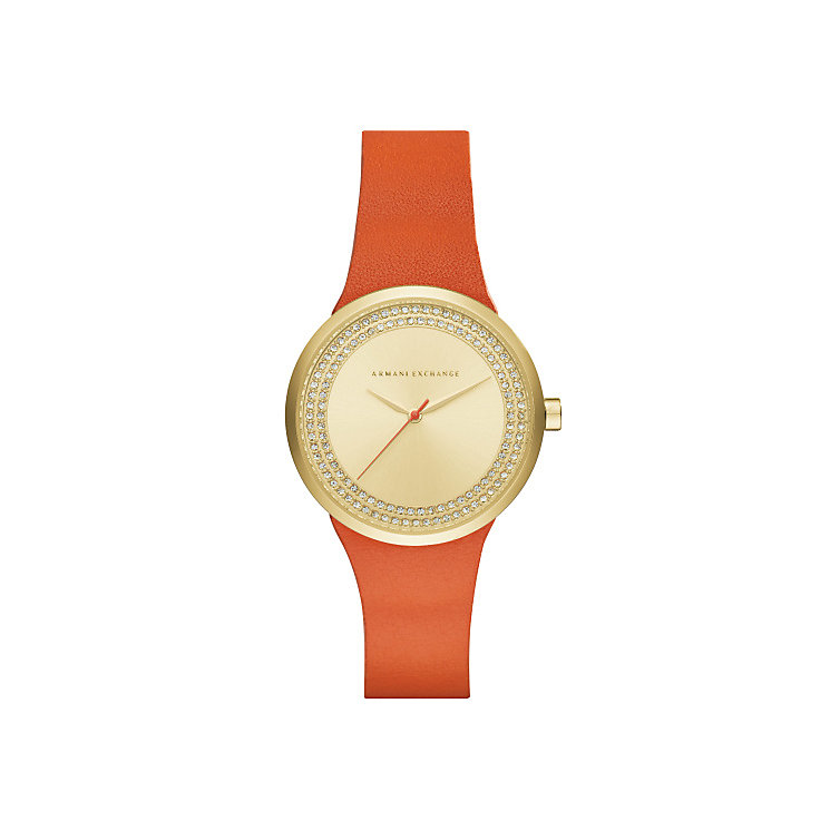 Armani Exchange Ladies' Orange Leather Strap Watch - Product number 5218578