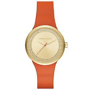 Armani Exchange Ladies' Orange Leather Strap Watch - Product number 5218578