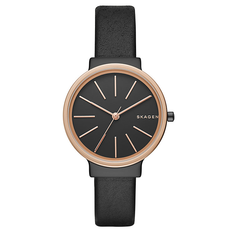 Skagen Ladies' Black Dial Black Leather Strap Watch - Product number 5218659