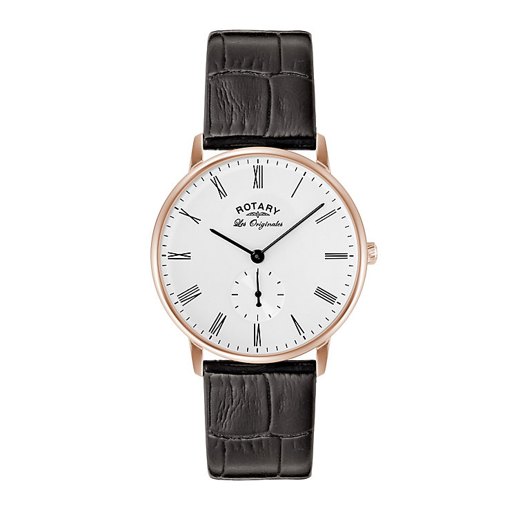 Rotary Kensington Men's Rose Gold Plated Strap Watch - Product number 5220661