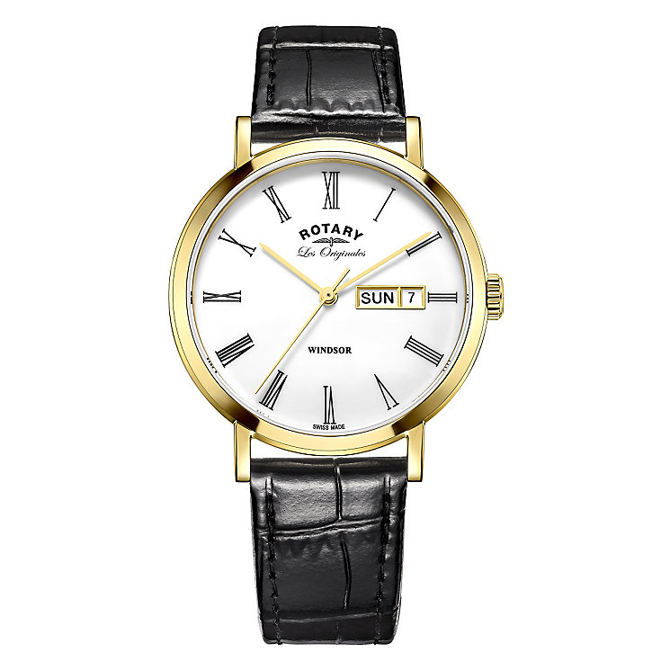 Rotary Kensington Men's Gold Plated Strap Watch - Product number 5220688